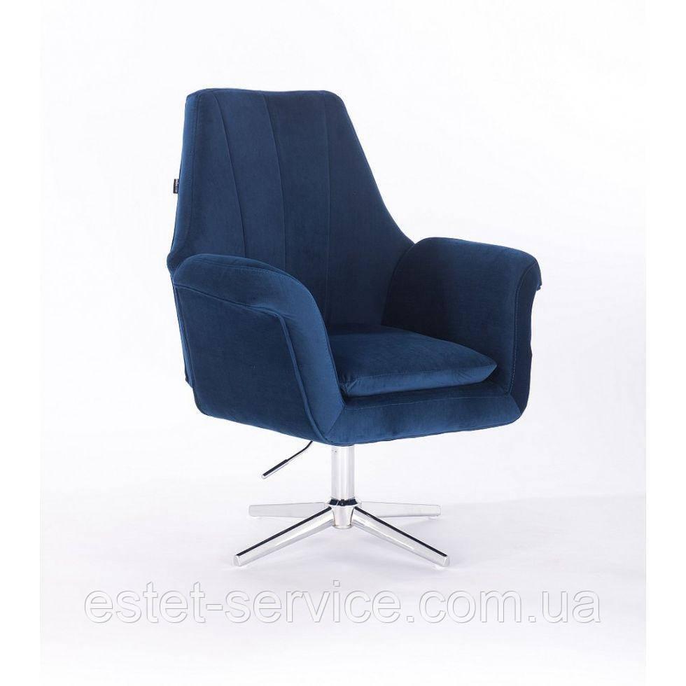 Кресло парикмахерское HROVE FORM HR660CROSS на хромированных стопках в ЦВЕТАХ велюр