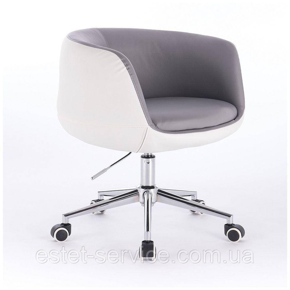 Парикмахерское кресло HC333K серо-белое экокожа