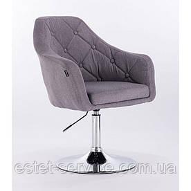 Кресло для клиента HROVE FORM HR831 на низкой барной основе, серая ткань