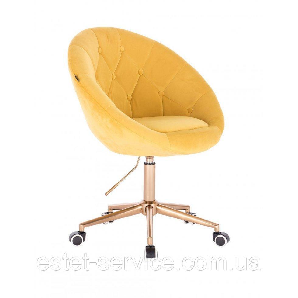 Косметическое кресло HR8516K  золотой велюр колеса золото