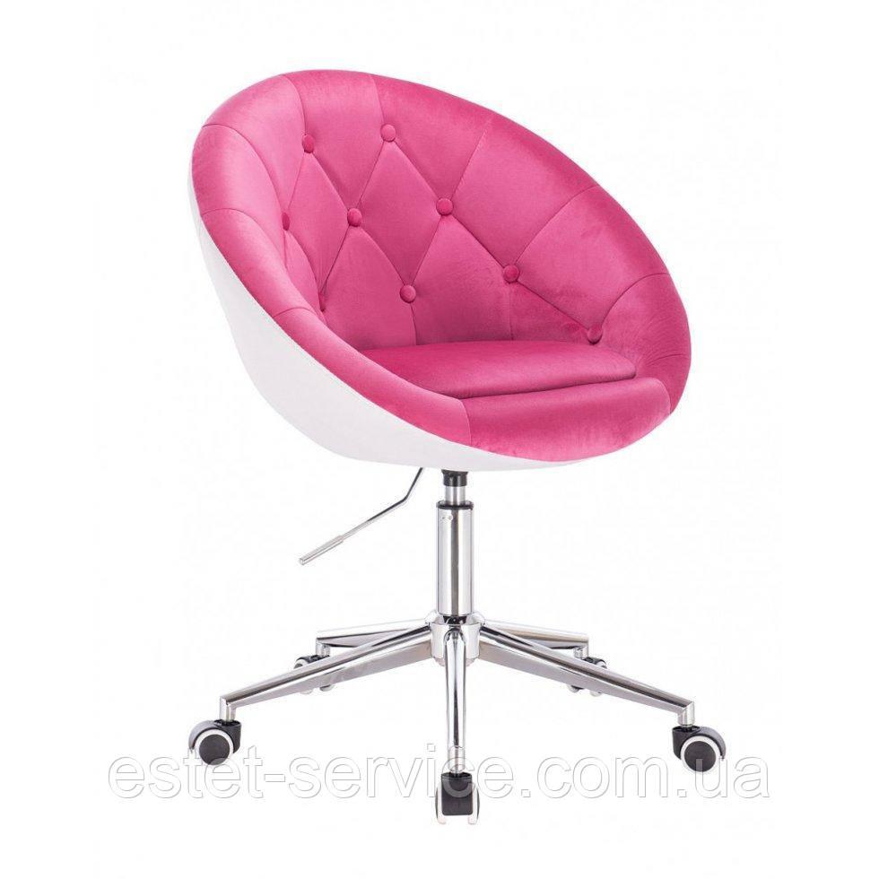 Косметическое кресло HR8516K  малиново-белое велюр