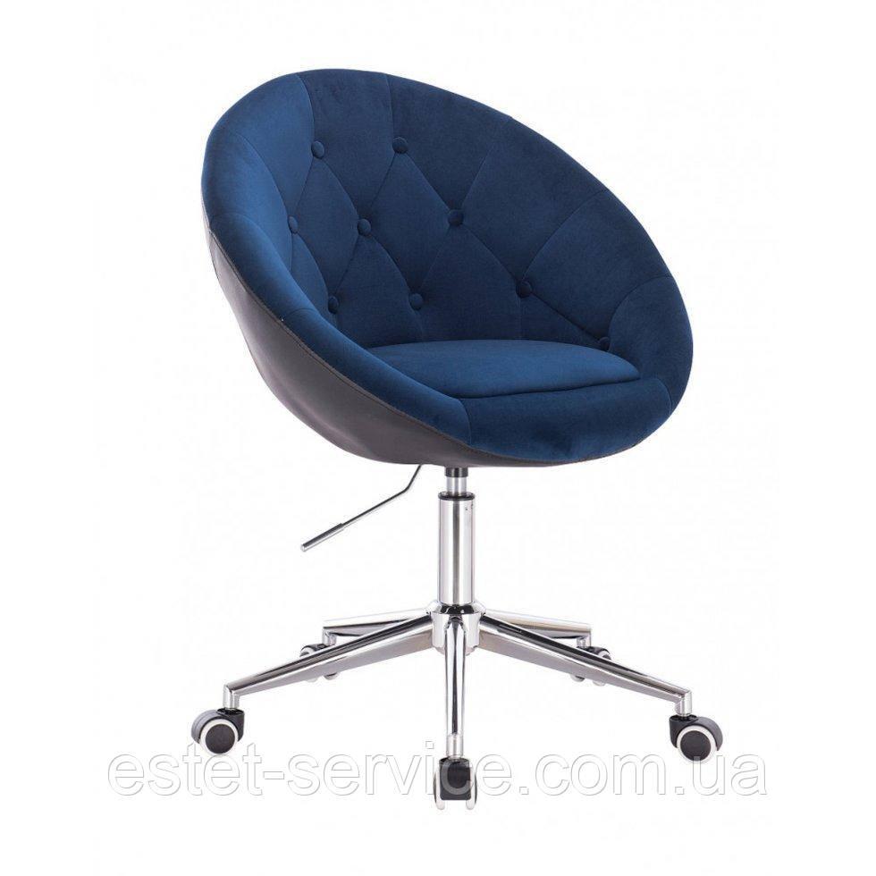 Косметическое кресло HR8516K  сине-черный велюр