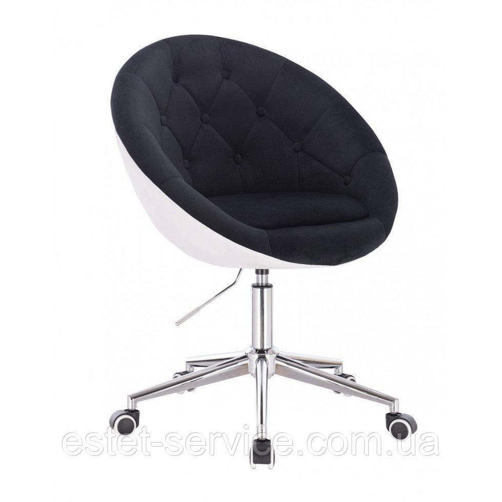 Косметическое кресло HR8516K  черно-белый велюр