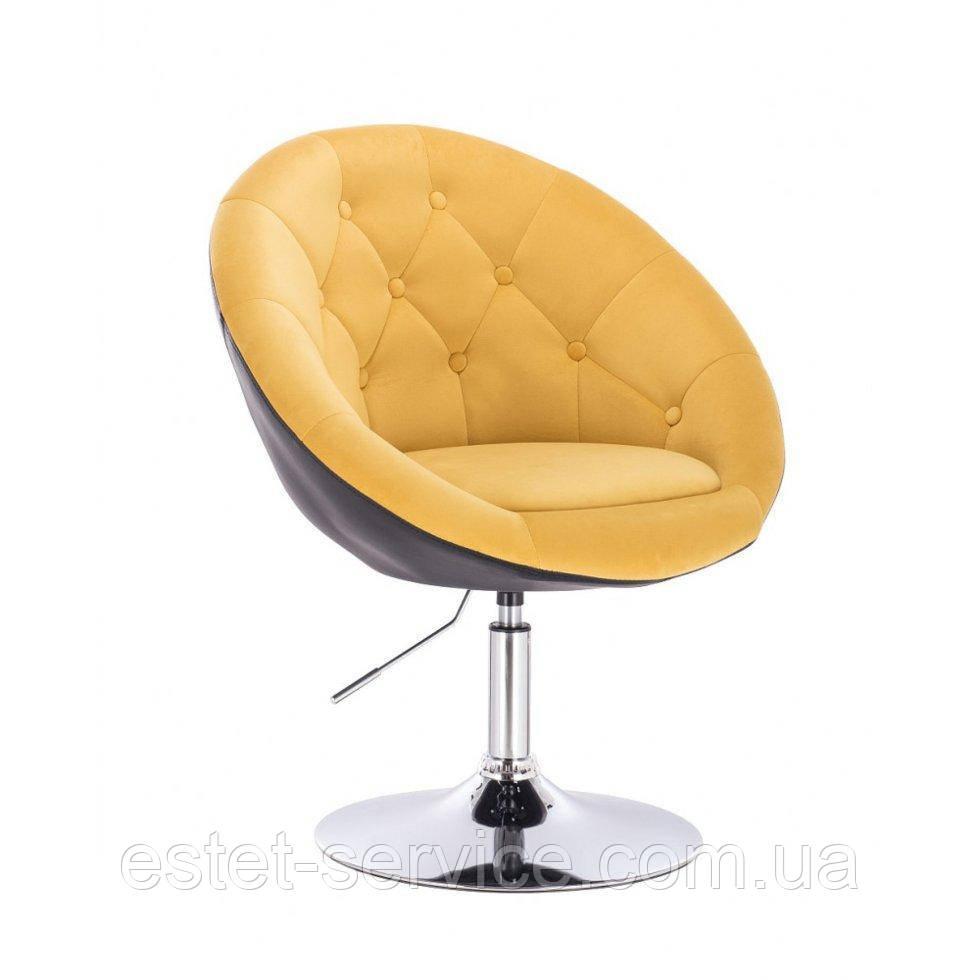 Парикмахерское  кресло HR8516 желто-черный велюр