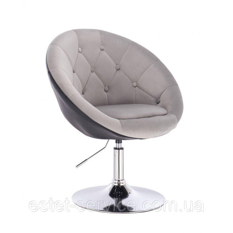 Парикмахерское  кресло HR8516 стальной-черный велюр