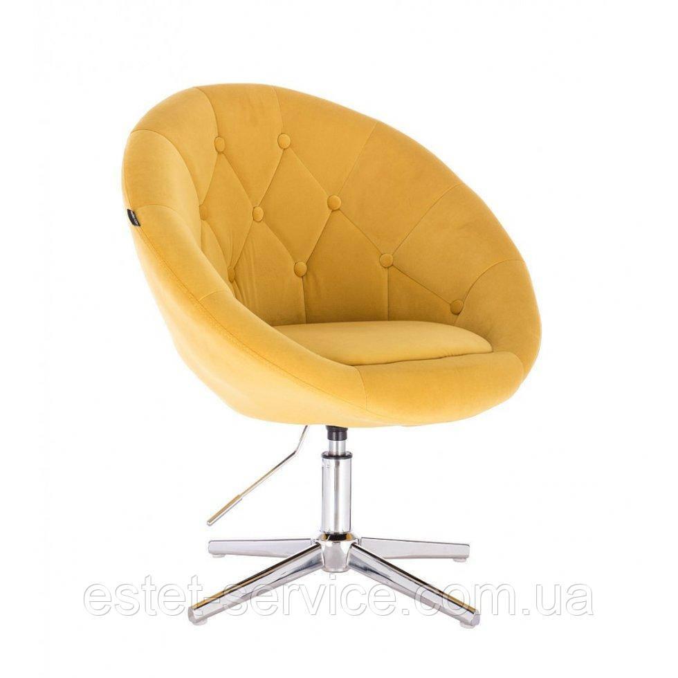 Парикмахерское  кресло HROVE FORM HR8516 желтый велюр