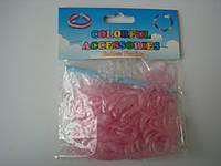 200 штук неоновых бледно розовых резиночек для плетения Loom Bands