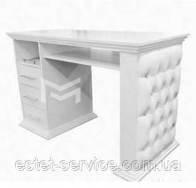 Стол маникюрный М127 на одну тумбу, фасады стола с каретной стяжкой