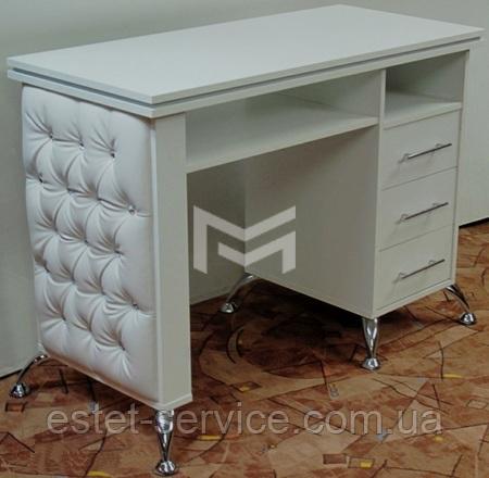 Стол маникюрный белый, фасады стола с каретной стяжкой М132