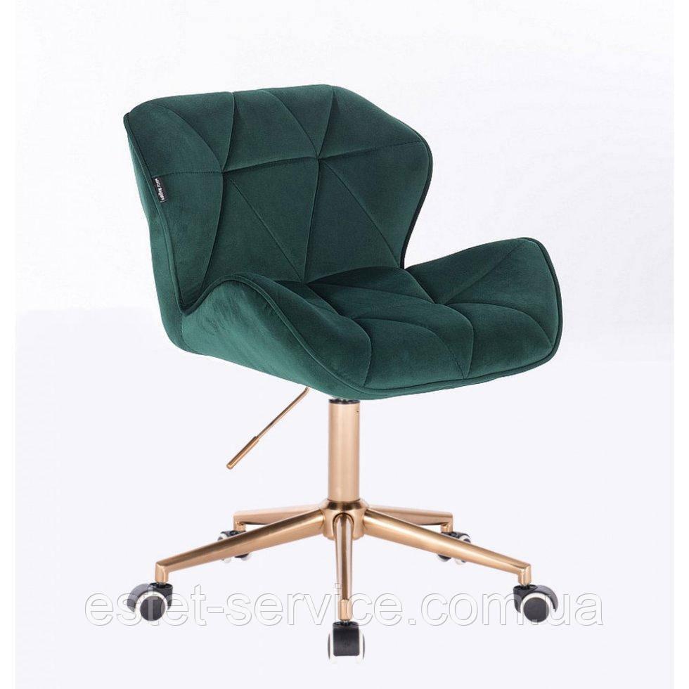 Косметическое кресло HR111K бутылочный велюр золотые колеса