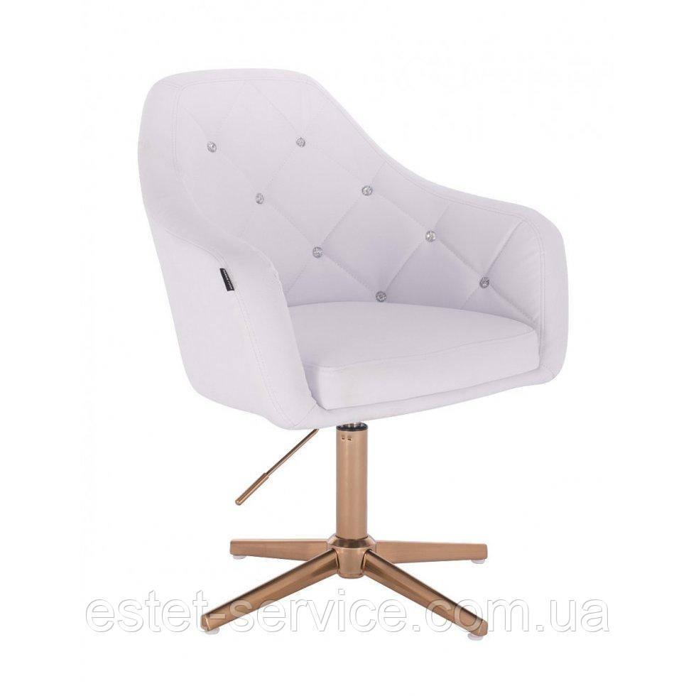 Парикмахерское  кресло HROVE FORM HR830CROSS белый кожзам крестовина матовое золото