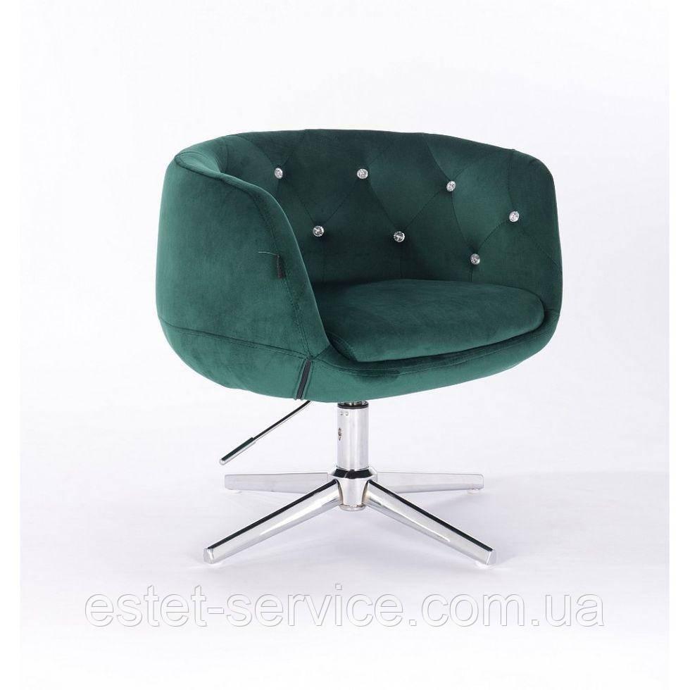 Косметическое кресло HROOVE FORM HR333K бутылочный зеленый  велюр