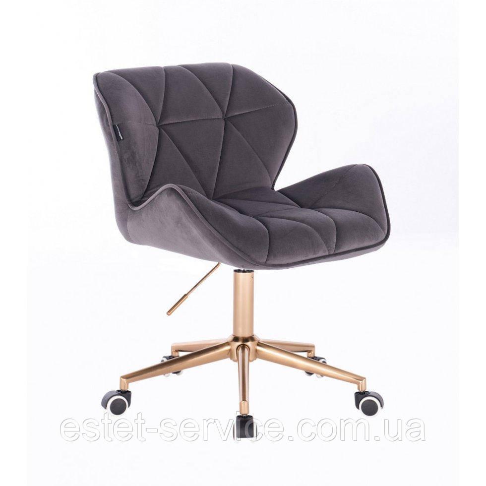 Косметическое кресло HR111K графитовый велюр золотые колеса