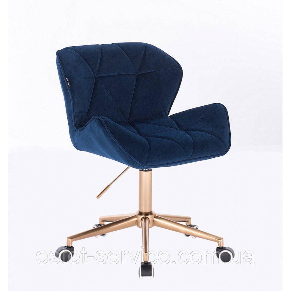 Косметическое кресло HR111K синий велюр золотые колеса