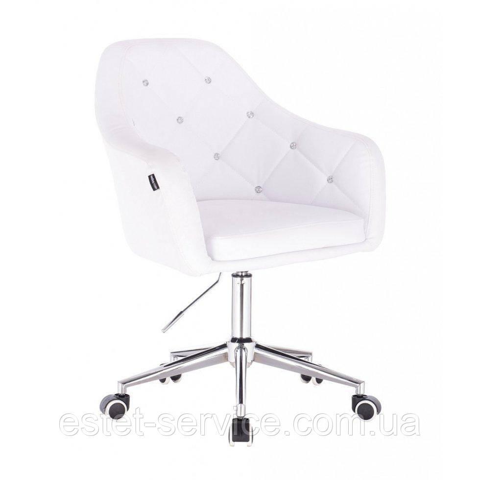 Косметическое кресло HROOVE FORM HR830K белый кожзам крестовина хром