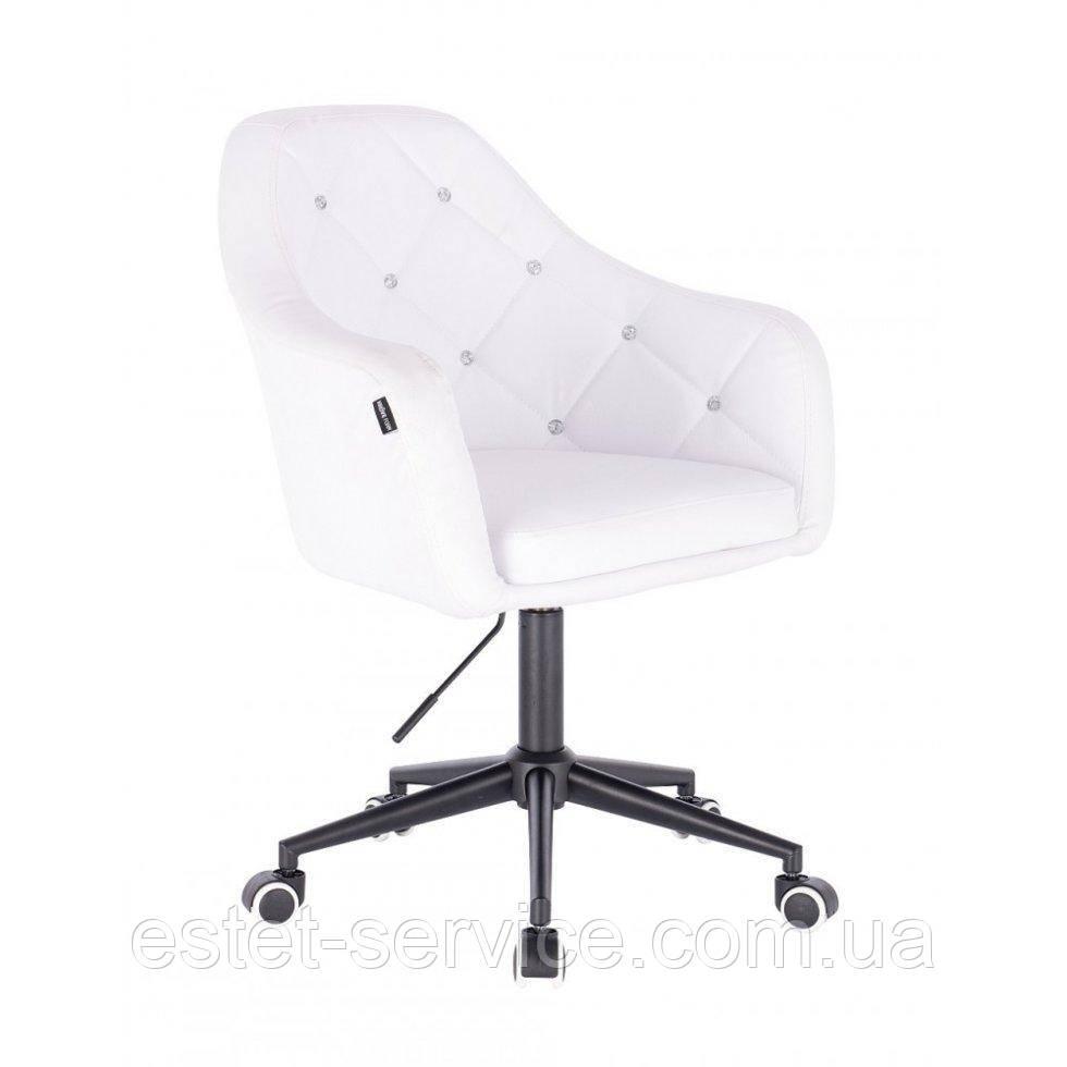 Косметическое кресло HROOVE FORM HR830K белый кожзам крестовина черная матовая