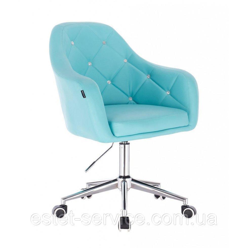 Косметическое кресло HROOVE FORM HR830K бирюза  кожзам крестовина хром