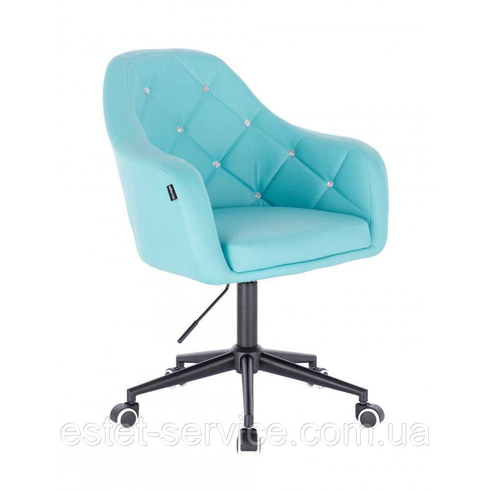 Косметическое кресло HROOVE FORM HR830K бирюза  кожзам крестовина черная матовая