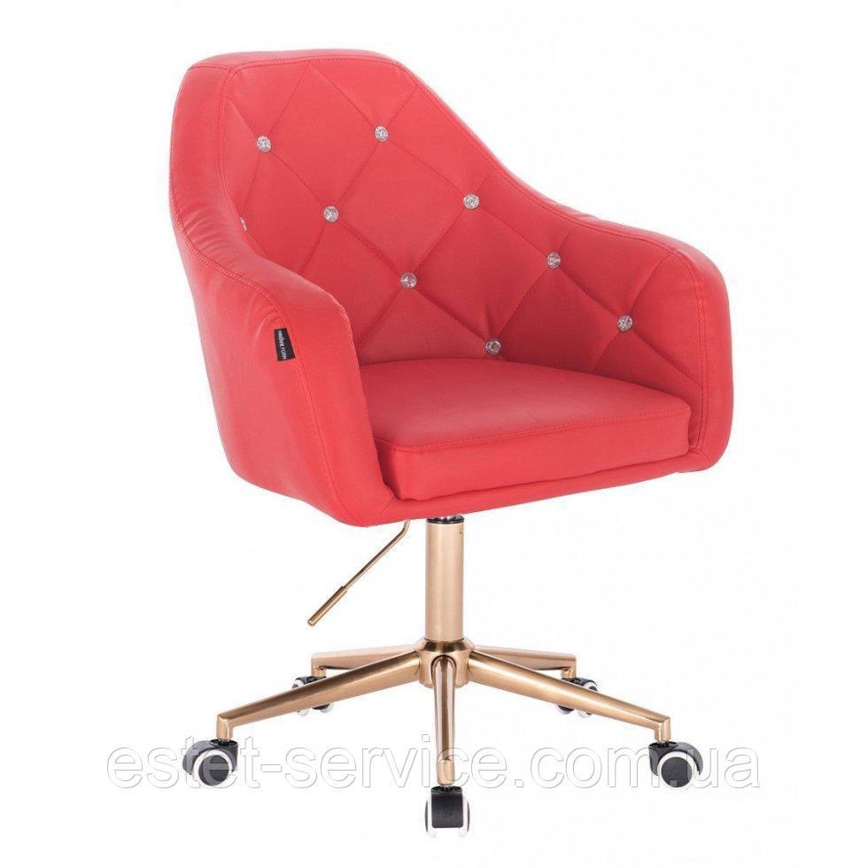 Косметическое кресло HROOVE FORM HR830K красный кожзам крестовина золотая матовая