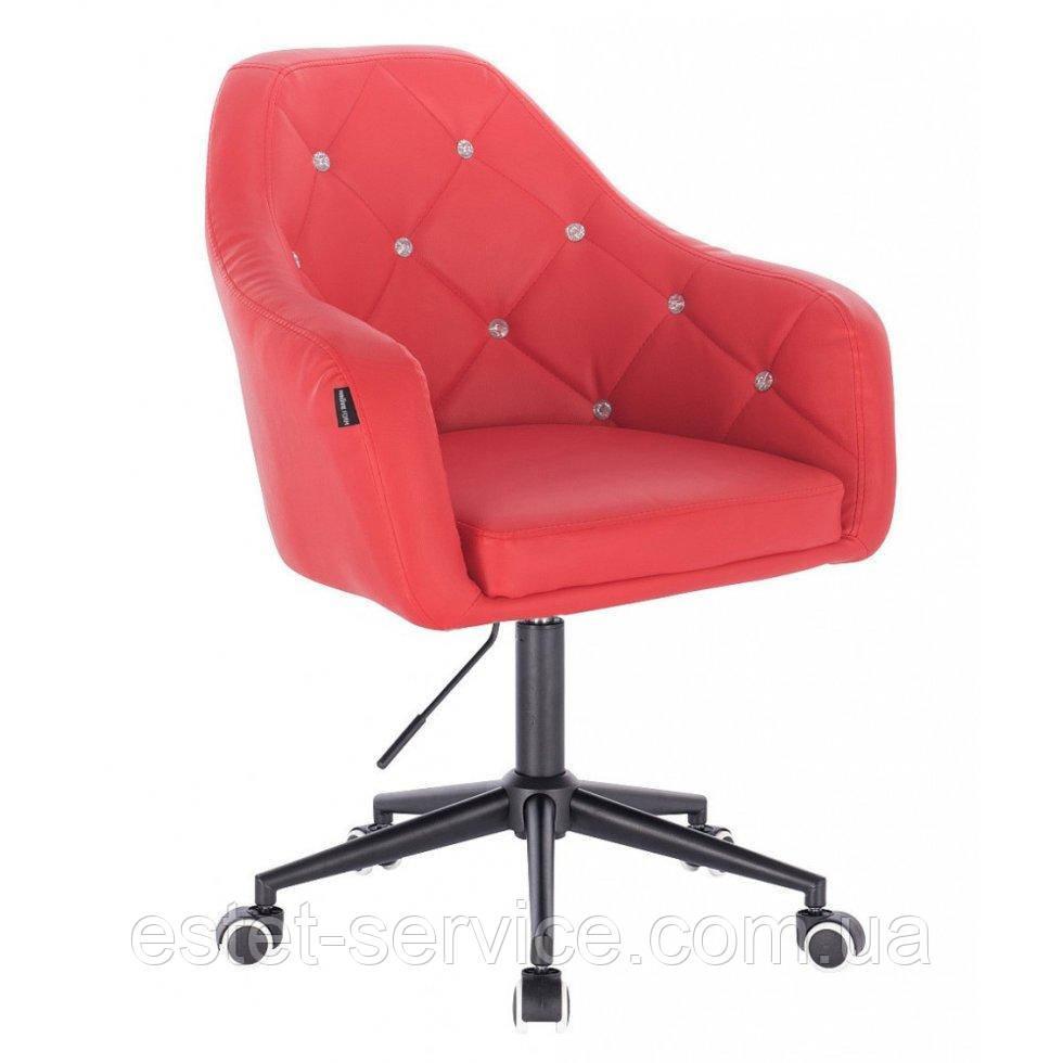 Косметическое кресло HROOVE FORM HR830K красный кожзам крестовина черная матовая