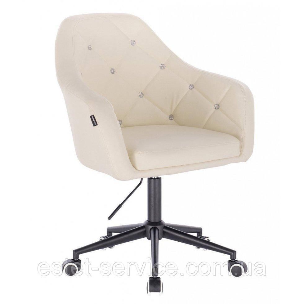 Косметическое кресло HROOVE FORM HR830K кремовый  кожзам крестовина черная матовая