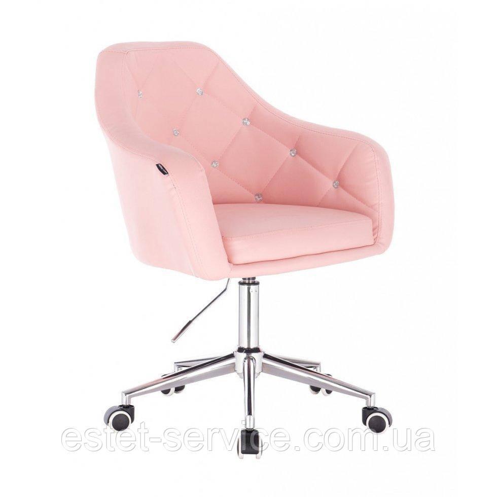 Косметическое кресло HROOVE FORM HR830K розовый  кожзам крестовина хром