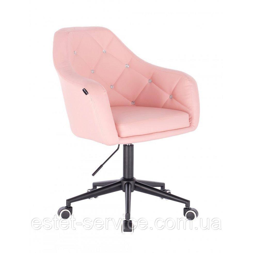 Косметическое кресло HROOVE FORM HR830K розовый кожзам крестовина черная матовая