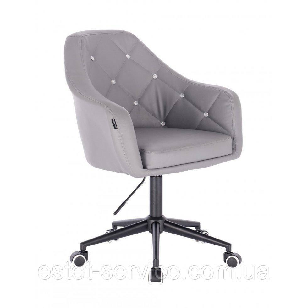 Косметическое кресло HROOVE FORM HR830K серый  кожзам крестовина черная матовая