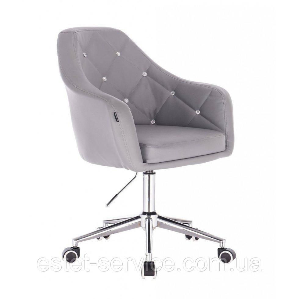 Косметическое кресло HROOVE FORM HR830K серый кожзам крестовина хром