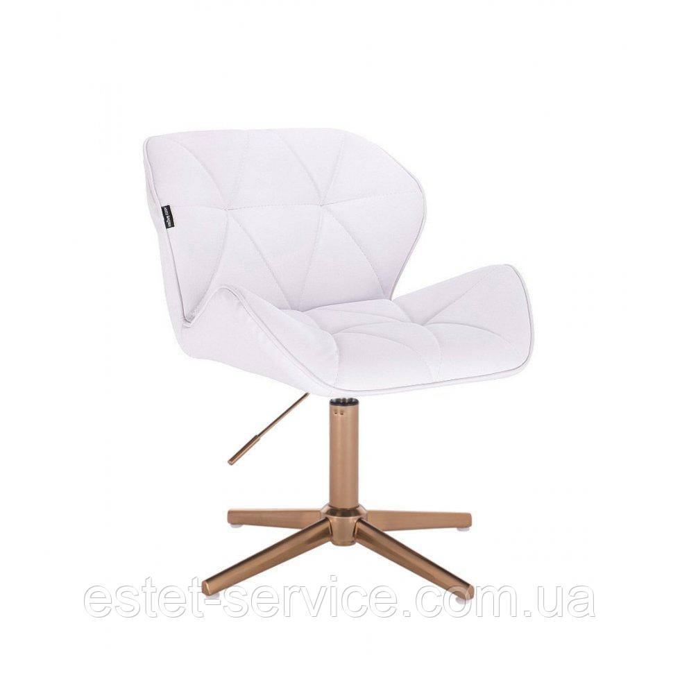 Парикмахерское  кресло HROVE FORM HR111CROSS белый кожзам крестовина золото