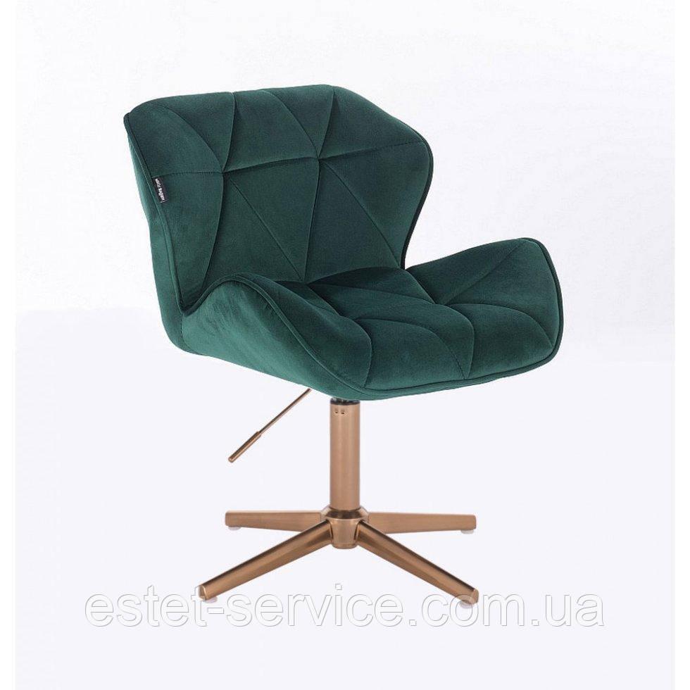 Парикмахерское  кресло HROVE FORM HR111CROSS бутылочный велюр крестовина золото