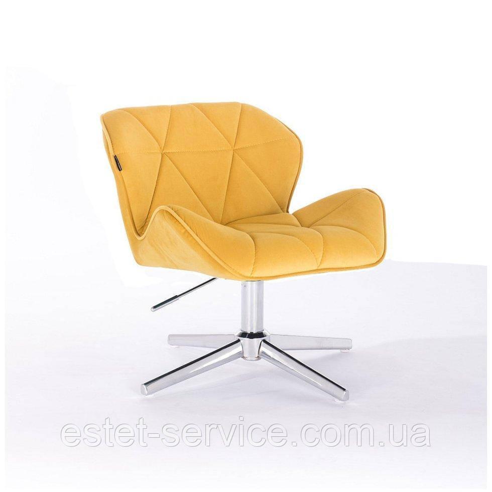 Парикмахерское  кресло HROVE FORM HR111CROSS желтый велюр