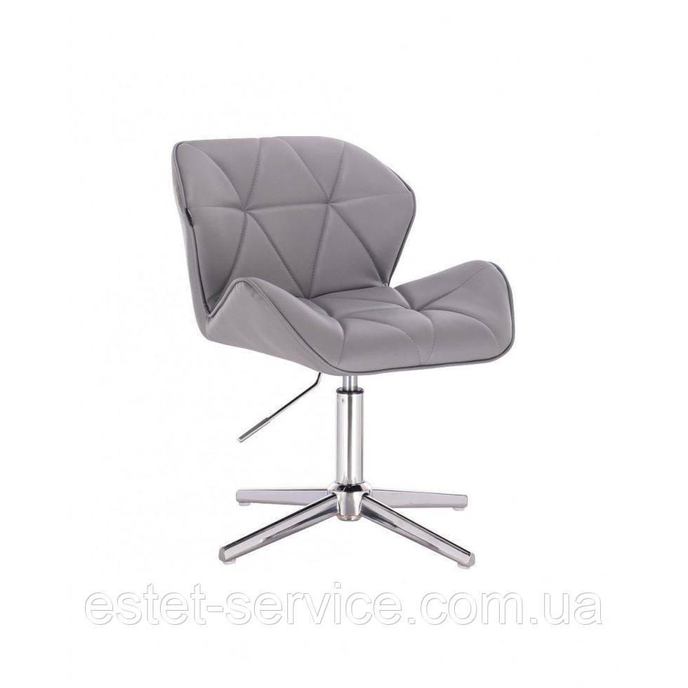 Кресло клиента HROVE FORM HR111CROSS на хромированных стопках в ЦВЕТЕ кожзам