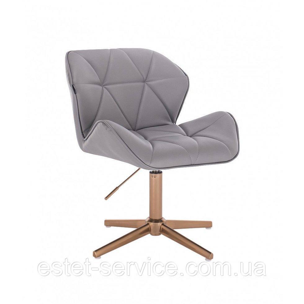 Парикмахерское  кресло HROVE FORM HR111CROSS серый кожзам крестовина золото