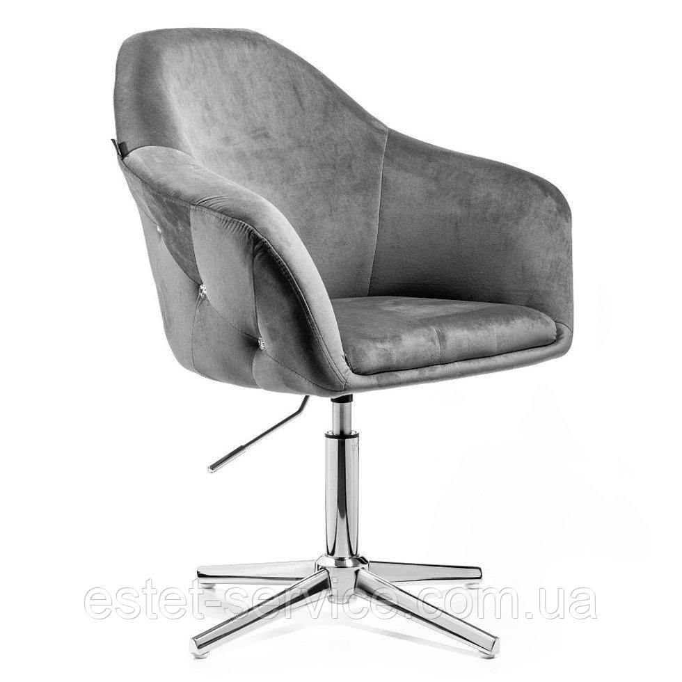 Парикмахерское  кресло HROVE FORM HR547CROSS графитовый велюр