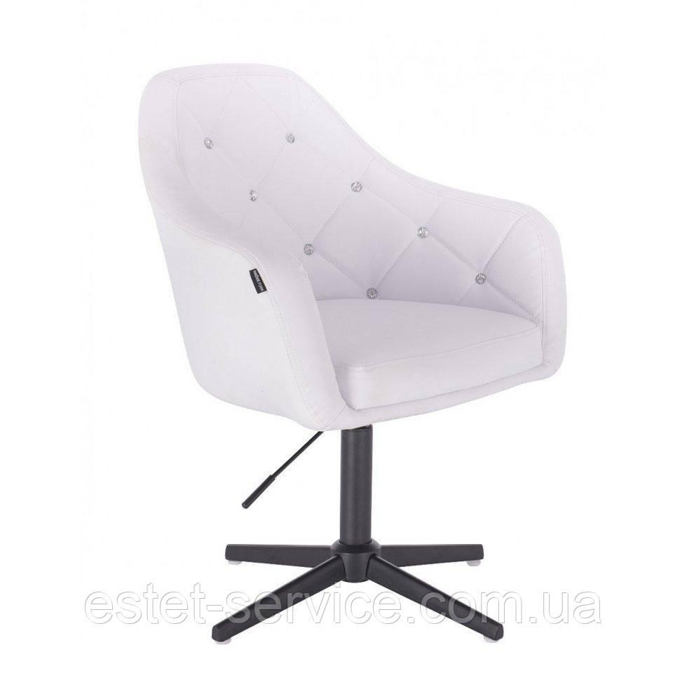 Парикмахерское  кресло HROVE FORM HR830CROSS белый кожзам крестовина черная матовая
