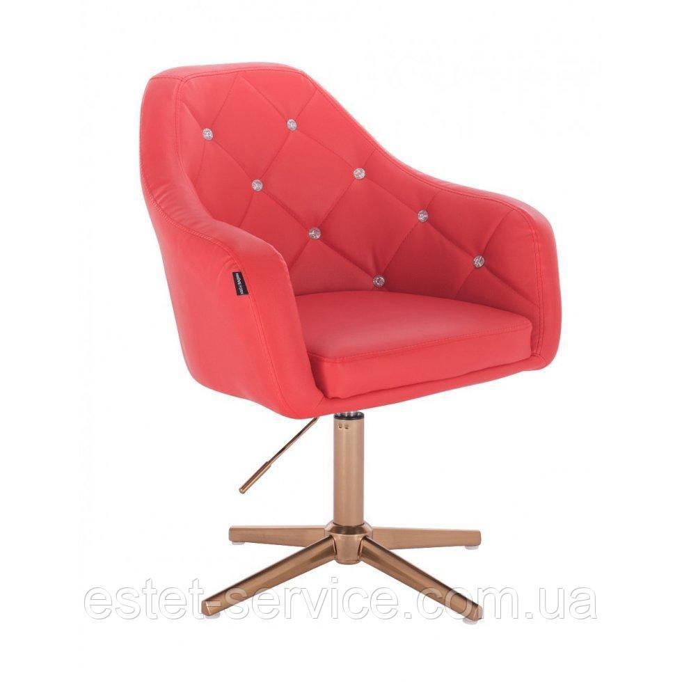Парикмахерское  кресло HROVE FORM HR830CROSS красный кожзам крестовина матовое золото