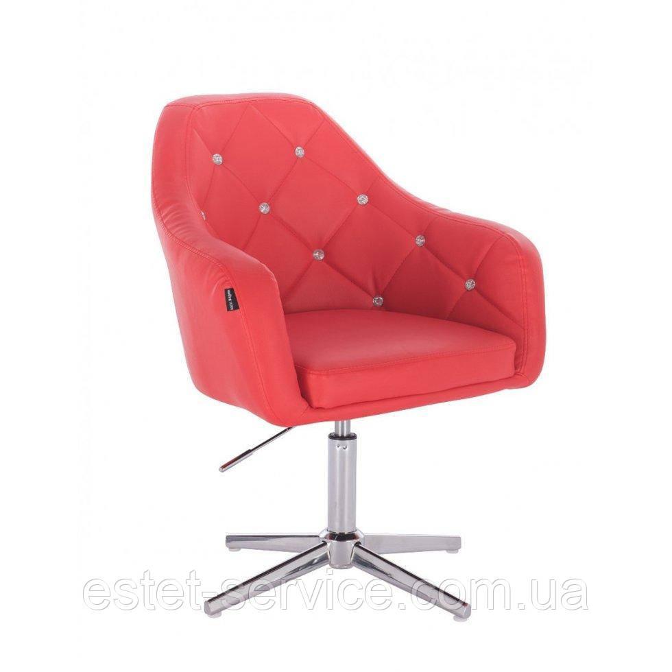 Парикмахерское  кресло HROVE FORM HR830CROSS красный кожзам крестовина хром