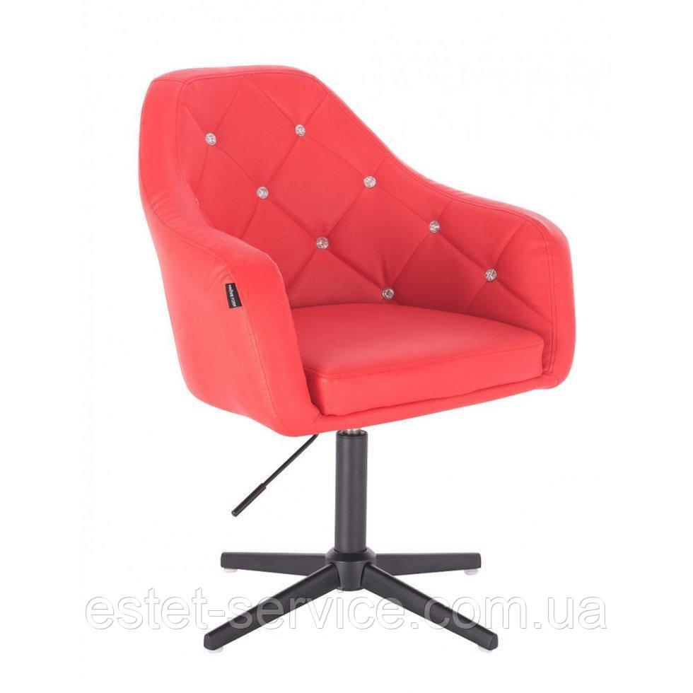 Парикмахерское  кресло HROVE FORM HR830CROSS красный кожзам крестовина черная матовая