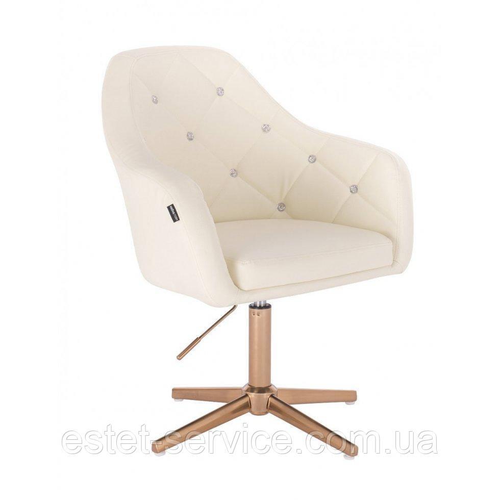 Парикмахерское  кресло HROVE FORM HR830CROSS крем кожзам крестовина матовое золото