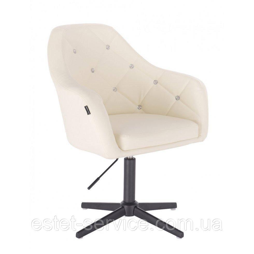 Парикмахерское  кресло HROVE FORM HR830CROSS кремовый кожзам крестовина черная матовая