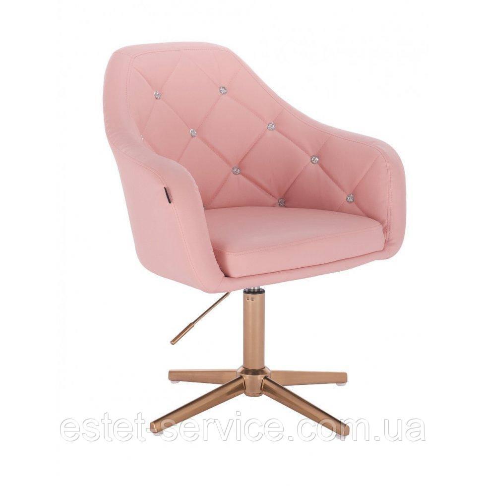 Парикмахерское  кресло HROVE FORM HR830CROSS розовый кожзам крестовина матовое золото