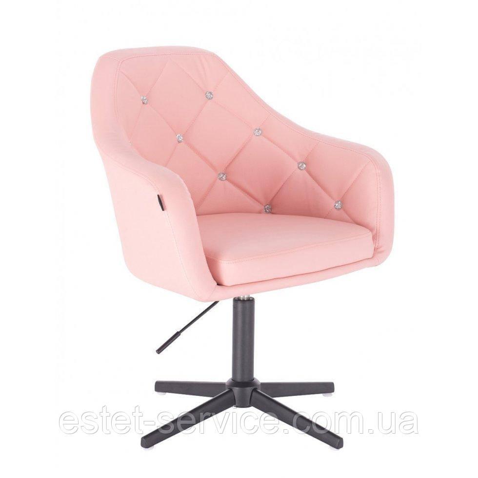 Парикмахерское  кресло HROVE FORM HR830CROSS розовый кожзам крестовина черная матовая
