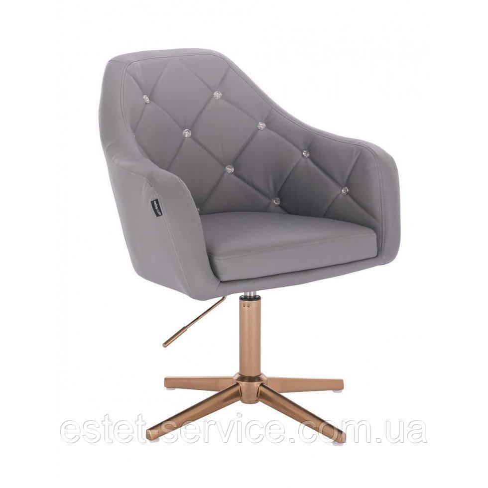Парикмахерское  кресло HROVE FORM HR830CROSS серый кожзам крестовина матовое золото
