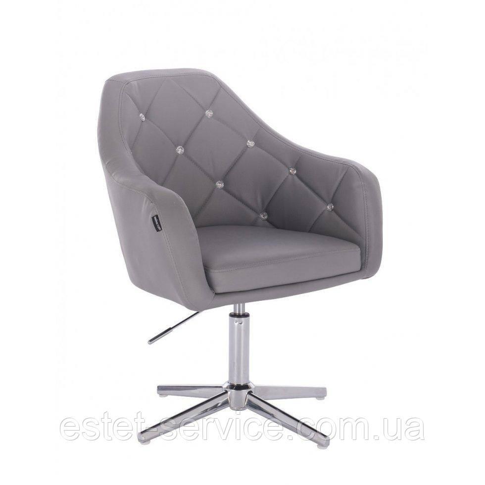 Парикмахерское  кресло HROVE FORM HR830CROSS серый кожзам крестовина хром