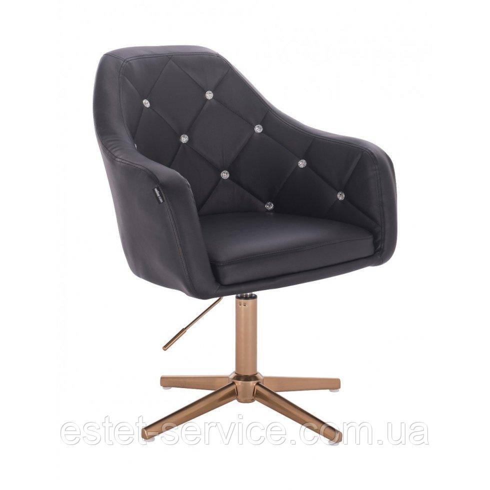 Парикмахерское  кресло HROVE FORM HR830CROSS черный кожзам крестовина матовое золото