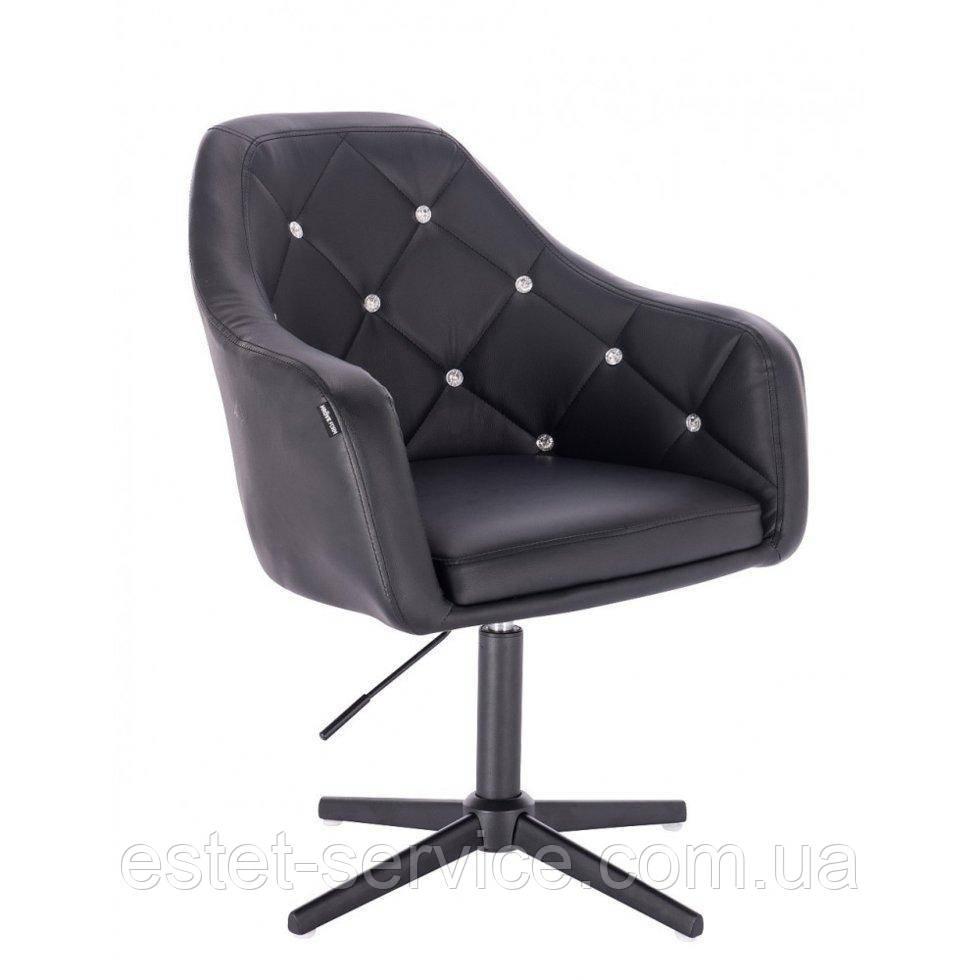 Парикмахерское  кресло HROVE FORM HR830CROSS черный кожзам крестовина черная матовая