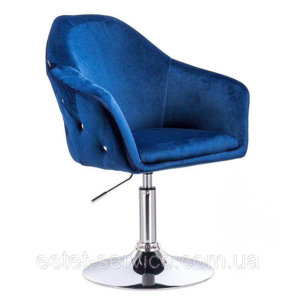 Парикмахерское кресло Hrove form HR547 темно-синий велюр