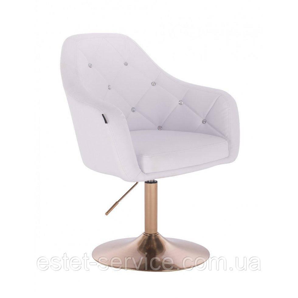 Парикмахерское кресло HROVE FORM HR830 белый кожзам диск матовое золото