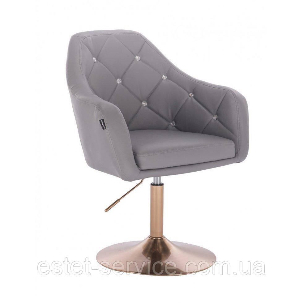 Парикмахерское кресло HROVE FORM HR830 серый кожзам диск матовое золото